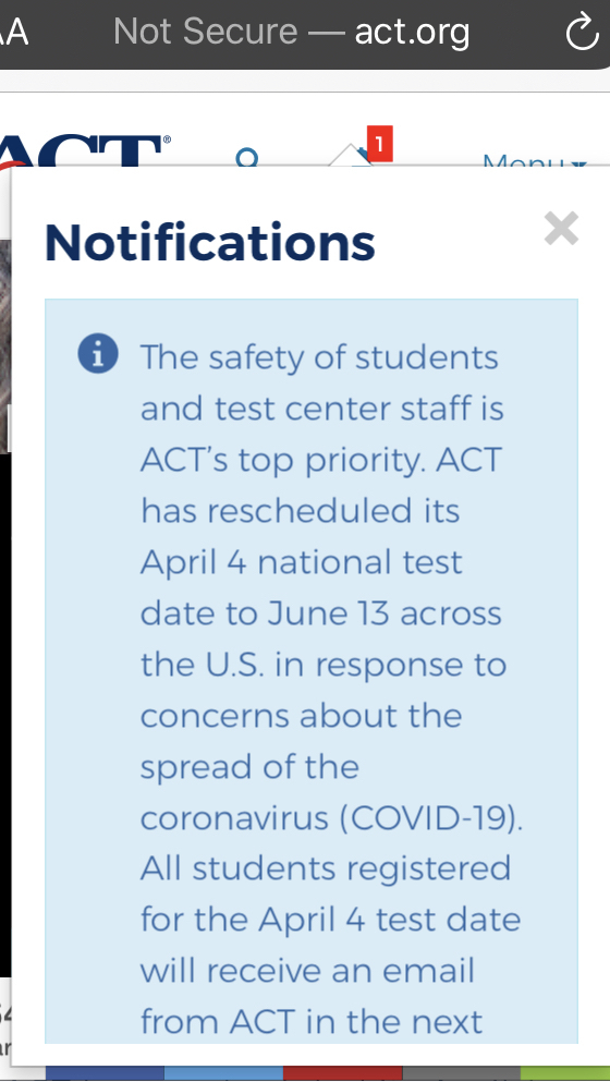 ACT Test Rescheduled